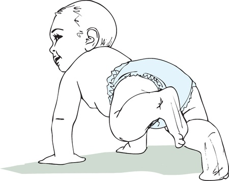 illustration of Crawling baby boy in diaper Vector