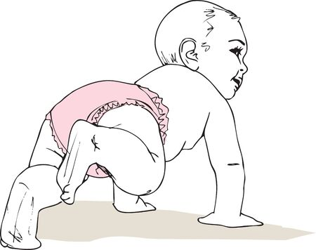 illustration of Crawling baby girl in diaper Vector
