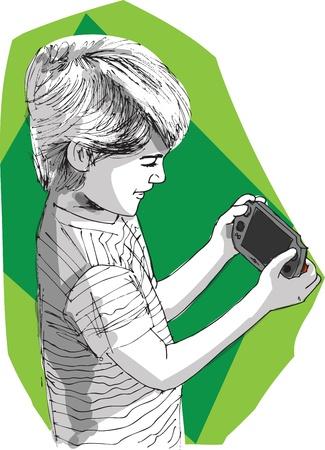ni�os jugando videojuegos: Muchacho que juega la consola de juegos