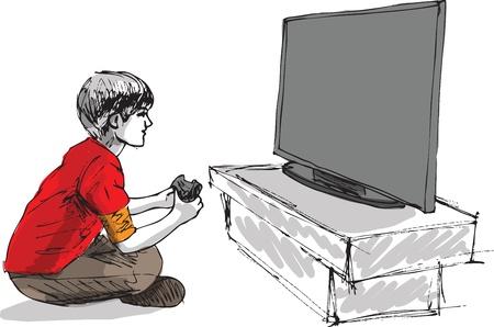 niños jugando videojuegos: Muchacho que juega juegos de computadora Vectores