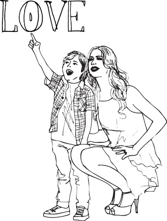 brother brotherhood: Sketch of little boy having fun with her beautiful mother.  illustration Illustration