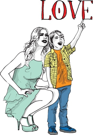 brother brotherhood: Sketch of little boy having fun with her beautiful mother. Vector illustration