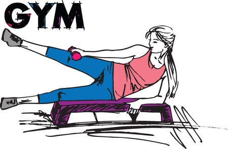 Sketch of a woman working out at the gym with dumbbell weights Vector