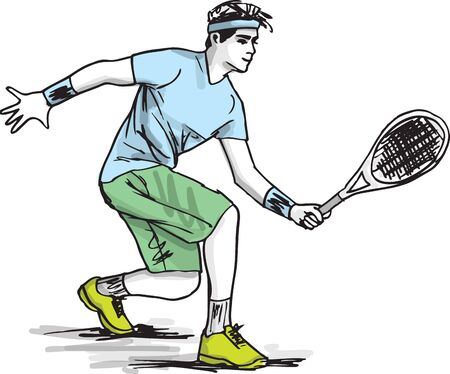 Sketch of man playing tennis.  illustration Stock Vector - 17540514