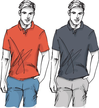 tee shirt: Sketch of fashion handsome man. illustration