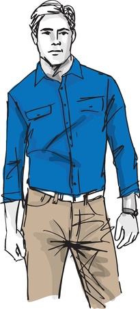 clothing shop: Sketch of fashion handsome man. illustration