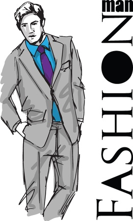 young male: Sketch of fashion handsome man. illustration