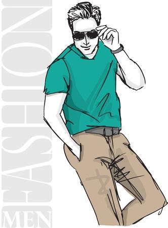 Sketch di moda uomo bello. illustrazione