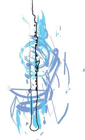 boehm flute: Flauta ilustraci�n abstracta