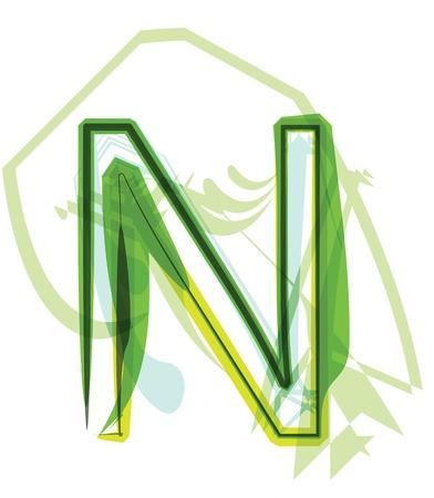 Green letter n Stock Vector - 18387725