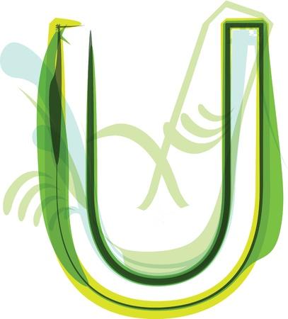 Green letter u Stock Vector - 18387677