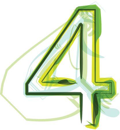 number 4: Green number 4 Illustration