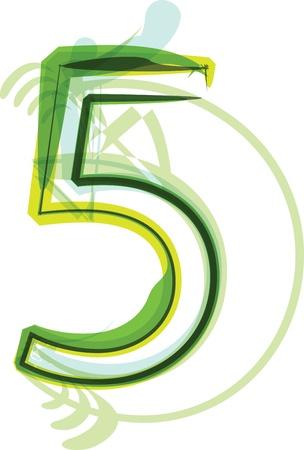 number 5: Green number 5
