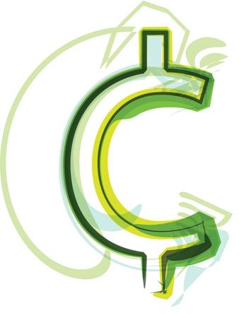 cent: Green letter