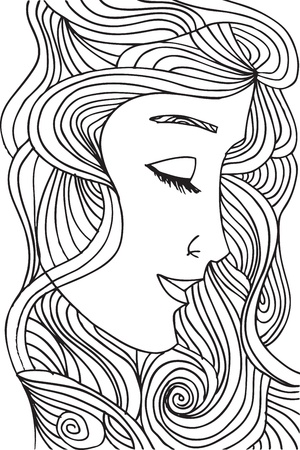 Abstract sketch of woman face  illustration.