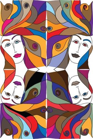 Abstract sketch of woman face illustration. Illusztráció