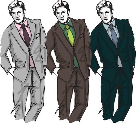 moda casual: Boceto de ilustraci�n de moda hombre guapo
