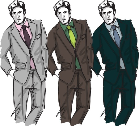 male fashion model: Sketch of fashion handsome man illustration