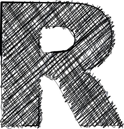 r: Hand draw font. LETTER R. Vector illustration Illustration