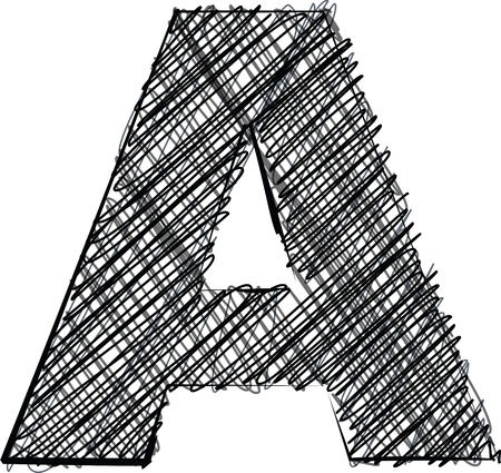 Hand draw font. LETTER A. Vector illustration Vector