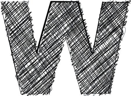 letter w: Hand draw font. LETTER W. Vector illustration Illustration