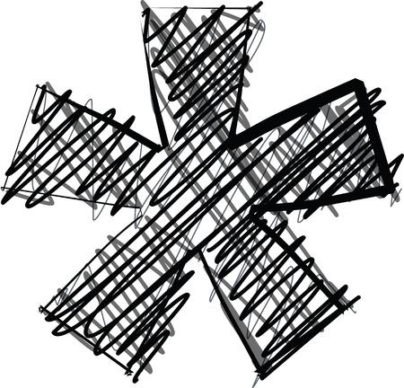 asterisk: Hand draw font. Vector illustration