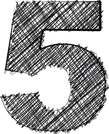 number 5: Hand draw font  NUMBER 5  Vector illustration Illustration