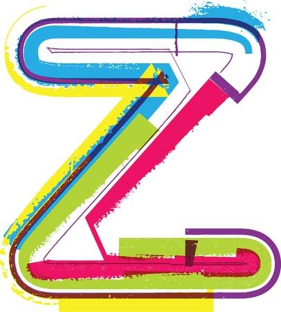 buchstabe z: Bunte Grunge Buchstaben Z Illustration