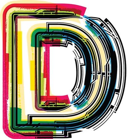 letter d: Colorful Grunge LETTER D Illustration