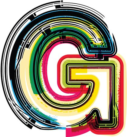 g alphabet: Colorful Grunge LETTER G