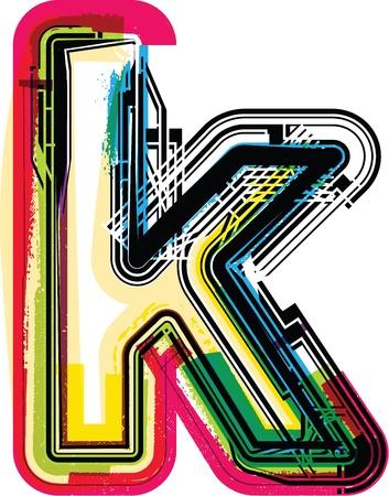 buchstabe k: Colorful Grunge Buchstaben K