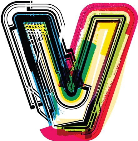 Colorful Grunge LETTER v Vector