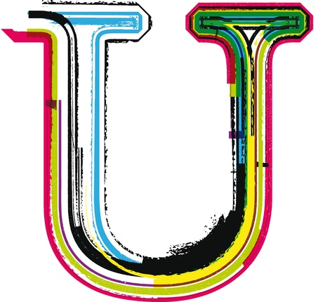 letter u: Colorful Grunge LETTER U Illustration