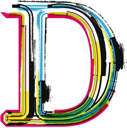 d: Colorful Grunge LETTER D Illustration