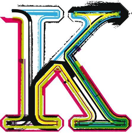 buchstabe k: Colorful Grunge Buchstabe K Illustration