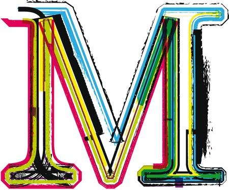 letra m: Colorido Grunge LETRA M