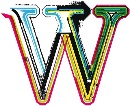 letter w: Colorful Grunge LETTER W