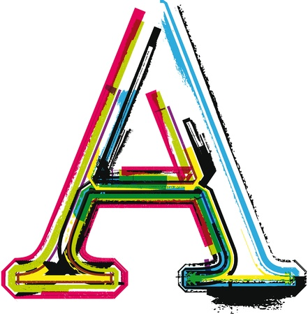 Colorful Grunge LETTER A Vector