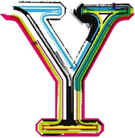 colorful grunge: Colorful Grunge LETTER Y Illustration
