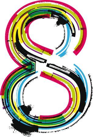 number 8: Colorful Grunge NUMBER 8 Illustration
