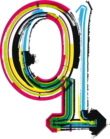 colorful grunge: Colorful Grunge LETTER q Illustration