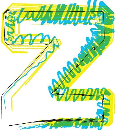 buchstabe z: Hand zeichnen Schriftart. Buchstaben Z. Vektor-Illustration