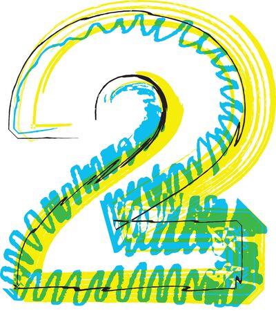 Hand draw font. NUMBER 2. Vector illustration