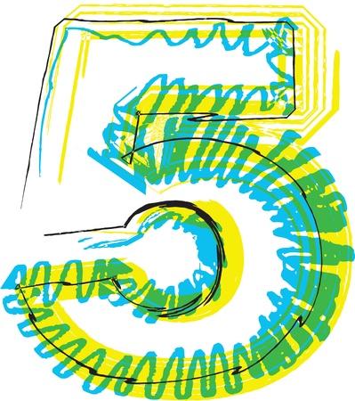 number 5: Hand draw font. NUMBER 5. Vector illustration