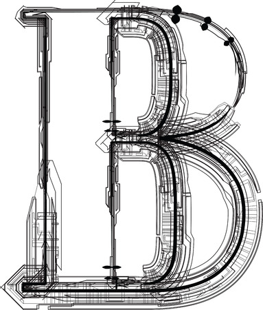 write a letter: technological font. LETTER B Illustration