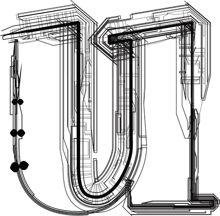 letter u: technological font. LETTER u