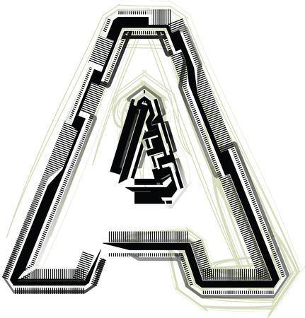 write abc: technological font. LETTER A