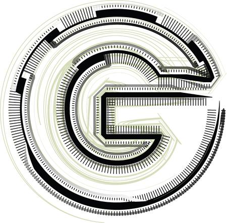 technological font. LETTER G Illustration