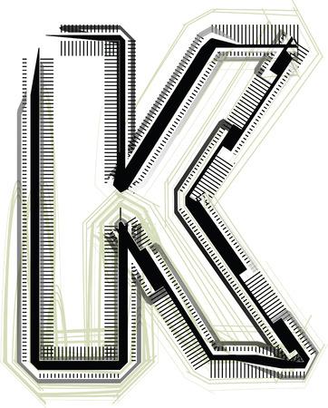 buchstabe k: technologische Schriftart. Buchstabe K
