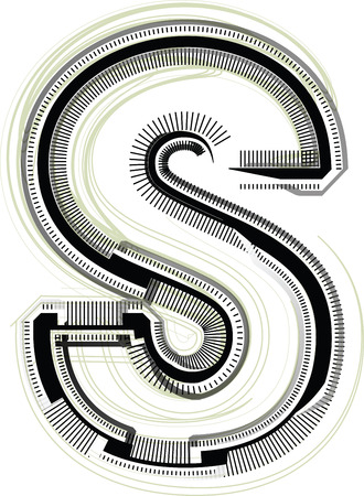 buchstabe s: technologische Schriftart. Buchstabe S